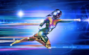 Mujer con traje cibernético de luces
