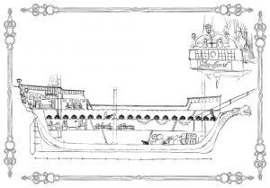 Interior de la fragata Lionheart